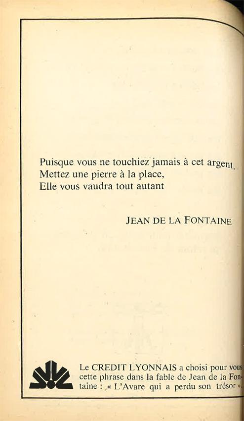Publicité Poésie 1 Crédit Lyonnais juillet-août 1976