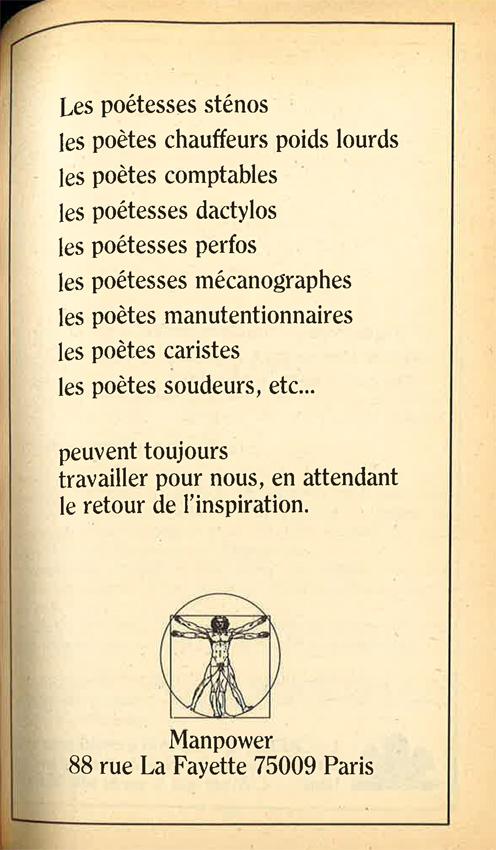 Publicité Poésie 1 Manpower juillet-août 1976