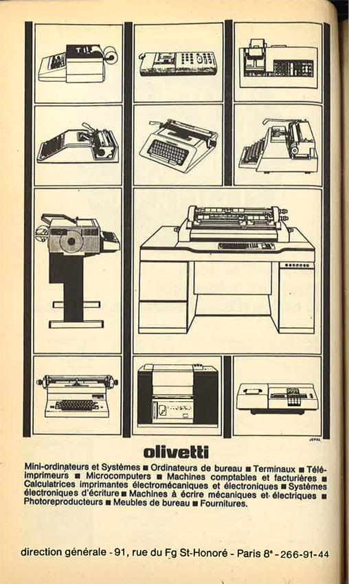 Publicité Poésie 1 Olivetti juillet-août 1976