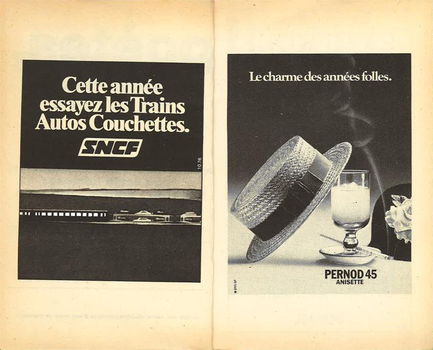 Publicités Poésie 1 Pernod et SNCF juillet-août 1976